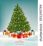 christmas tree with presents... | Shutterstock .eps vector #351195794