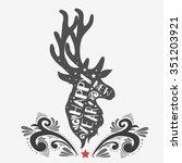 christmas deer.  happy new year ... | Shutterstock .eps vector #351203921