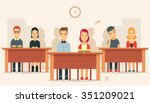 flat cartoon pupils sitting in... | Shutterstock .eps vector #351209021