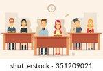flat cartoon pupils sitting in... | Shutterstock .eps vector #351209021