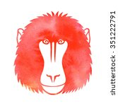 Baboon. Watercolor Vector....