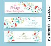 retro flower banners concept.... | Shutterstock .eps vector #351223229