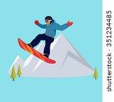 extreme sport snowboard design. ... | Shutterstock . vector #351234485