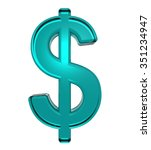 dollar sign from turquoise... | Shutterstock . vector #351234947
