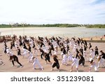 Small photo of Dance flash mob on the river-bank in the city center. Date: 26.06.2011 Place: Omsk City in West Siberia