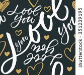 seamless pattern 'love you'.... | Shutterstock .eps vector #351239195