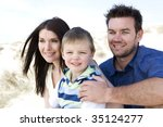 a family sitting together on... | Shutterstock . vector #35124277