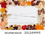 mix of dried fruits and nuts on ... | Shutterstock . vector #351249995