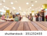 empty top wooden table and blur ... | Shutterstock . vector #351252455