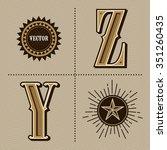 western alphabet letters... | Shutterstock .eps vector #351260435