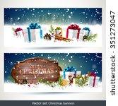 vector set of two christmas... | Shutterstock .eps vector #351273047