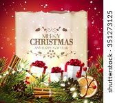 christmas greeting card with... | Shutterstock .eps vector #351273125