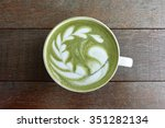a cup of green tea matcha latte | Shutterstock . vector #351282134