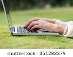 beautiful hands of woman... | Shutterstock . vector #351283379