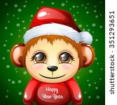 funny monkey santa. new year... | Shutterstock .eps vector #351293651