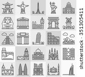 travel landmarks icons   vector ... | Shutterstock .eps vector #351305411