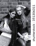 two young women posing outdoor. ... | Shutterstock . vector #351306311