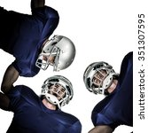 Small photo of American football huddle against white background with vignette