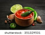 homemade hot sauce and spices... | Shutterstock . vector #351329531
