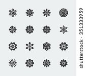 flowers vector icon set | Shutterstock .eps vector #351333959