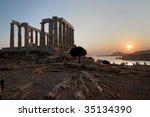 Temple Of Poseidon On Coast Of...