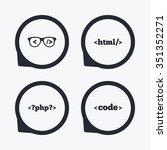 programmer coder glasses icon.... | Shutterstock .eps vector #351352271