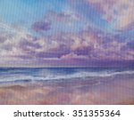 seaside at the sunset with... | Shutterstock . vector #351355364