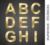 vector gold alphabet set. | Shutterstock .eps vector #351366161