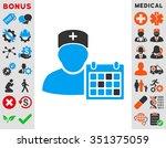 doctor calendar vector icon.... | Shutterstock .eps vector #351375059