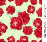 red rose vector seamless... | Shutterstock .eps vector #351377777