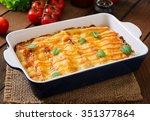 meat cannelloni sauce bechamel  | Shutterstock . vector #351377864