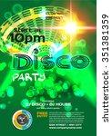 vector night party invitation... | Shutterstock .eps vector #351381359