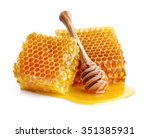 honeycombs in closeup | Shutterstock . vector #351385931