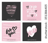 set of love cards for valentine'... | Shutterstock .eps vector #351386405