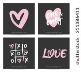 set of love cards for valentine'... | Shutterstock .eps vector #351386411