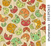 seamless pattern. funny cute... | Shutterstock .eps vector #351392615