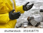scientist in mask and... | Shutterstock . vector #351418775