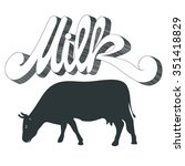 milk cow  | Shutterstock .eps vector #351418829