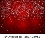 Sparkling Fireworks On Red...