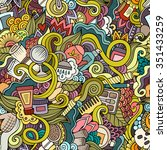 cartoon hand drawn doodles on... | Shutterstock .eps vector #351433259