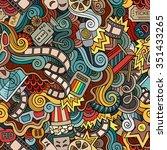 cartoon doodles hand drawn... | Shutterstock .eps vector #351433265