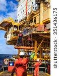 boom lift people offshore oil... | Shutterstock . vector #351436175