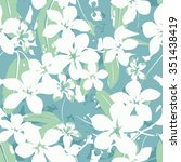floral tropical exotic seamless ... | Shutterstock .eps vector #351438419
