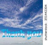 thanks alphabet made of wood...   Shutterstock . vector #351442304