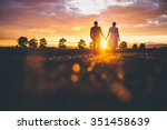 couple holding hands in the... | Shutterstock . vector #351458639