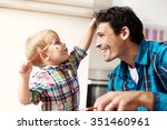 father and son having a good... | Shutterstock . vector #351460961