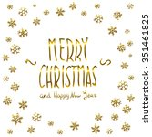 golden glowing merry christmas... | Shutterstock .eps vector #351461825