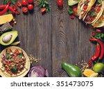fresh delicious mexican tacos... | Shutterstock . vector #351473075