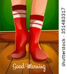good morning.christmas red... | Shutterstock .eps vector #351483317
