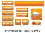 orange game buttons set ...